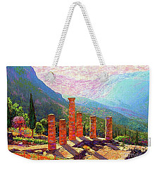 Weekender Tote Bag featuring the painting Delphi Magic by Jane Small