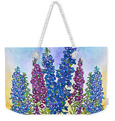 Delphinium Blue Weekender Tote Bag by Janet Immordino