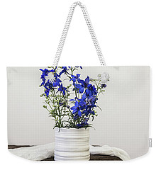 Weekender Tote Bag featuring the photograph Delphinium Blue by Kim Hojnacki
