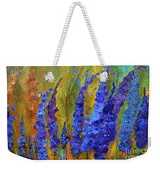 Delphiniums Weekender Tote Bag by Claire Bull
