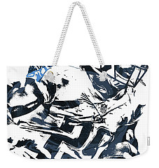 Weekender Tote Bag featuring the mixed media Demarco Murray Tennessee Titans Pixel Art 2 by Joe Hamilton