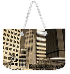 Weekender Tote Bag featuring the photograph Denver Architecture Sepia by Frank Romeo