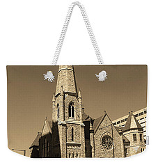 Weekender Tote Bag featuring the photograph Denver Downtown Church Sepia by Frank Romeo