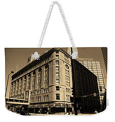 Weekender Tote Bag featuring the photograph Denver Downtown Sepia by Frank Romeo