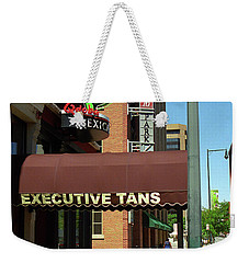 Weekender Tote Bag featuring the photograph Denver Downtown Storefront by Frank Romeo