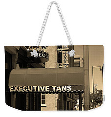 Weekender Tote Bag featuring the photograph Denver Downtown Storefront Sepia by Frank Romeo