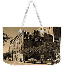 Weekender Tote Bag featuring the photograph Denver Downtown Warehouse Sepia by Frank Romeo