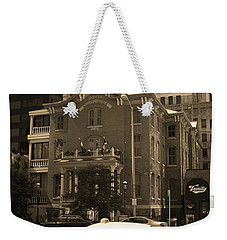 Weekender Tote Bag featuring the photograph Denver Downtown With Yellow Cab Sepia by Frank Romeo