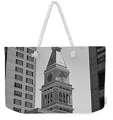 Denver - Historic D And F Clocktower 2 Bw Weekender Tote Bag by Frank Romeo