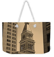 Weekender Tote Bag featuring the photograph Denver - Historic D F Clocktower 2 Sepia by Frank Romeo