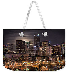 Denver Skyline At Night Weekender Tote Bag by Juli Scalzi