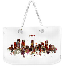 Weekender Tote Bag featuring the mixed media Denver Skyline Silhouette by Marian Voicu