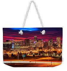 Denver Skyline Sunrise Weekender Tote Bag