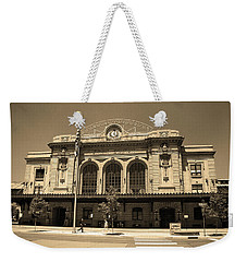 Weekender Tote Bag featuring the photograph Denver - Union Station Sepia 5 by Frank Romeo