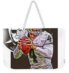 Derek Carr Oakland Raiders Oil Art Weekender Tote Bag by Joe Hamilton