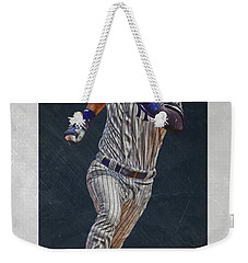 Derek Jeter New York Yankees Art 3 Weekender Tote Bag by Joe Hamilton