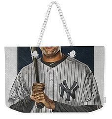 Derek Jeter New York Yankees Art Weekender Tote Bag by Joe Hamilton
