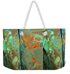 Weekender Tote Bag featuring the mixed media Dereliction Of Paint 2 by Lynda Lehmann