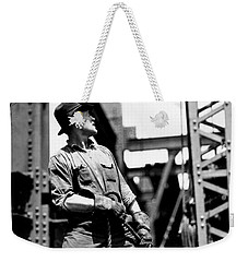 Derrick Man   Empire State Building Weekender Tote Bag by LW Hine