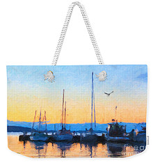 Weekender Tote Bag featuring the painting Derwent River Sunset by Chris Armytage