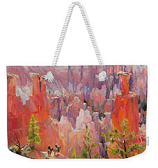 Weekender Tote Bag featuring the painting Descent Into Bryce by Steve Henderson
