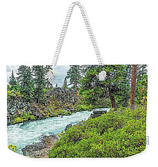 Weekender Tote Bag featuring the photograph Deschutes River And Falls by Nancy Marie Ricketts