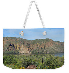 Weekender Tote Bag featuring the digital art Desert Flora Over Canyon Lake by Lynda Lehmann