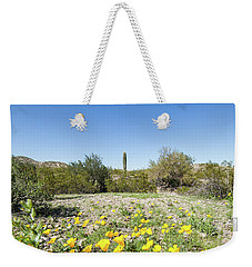 Weekender Tote Bag featuring the photograph Desert Flowers And Cactus by Ed Cilley