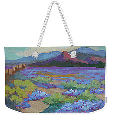 Weekender Tote Bag featuring the painting Desert In Bloom by Diane McClary