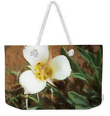 Weekender Tote Bag featuring the painting Desert Mariposa Lily by Penny Lisowski