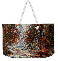 Weekender Tote Bag featuring the painting Desert Oasis Waterfall by Reed Novotny