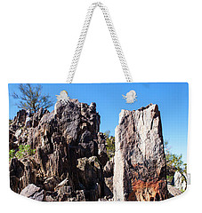 Weekender Tote Bag featuring the photograph Desert Rocks by Ed Cilley
