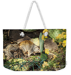 Weekender Tote Bag featuring the photograph Desert Squirrel by Lawrence Burry