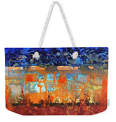 Weekender Tote Bag featuring the painting Desert Strata by Walter Fahmy