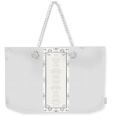 Weekender Tote Bag featuring the digital art Desiderata In Silver Script By Max Ehrmann by Rose Santuci-Sofranko