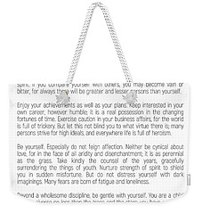 Desiderata #minimalism Weekender Tote Bag