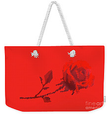 Designer Red Rose Weekender Tote Bag by Linda Phelps