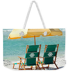 Destin Florida Beach Chairs And Yellow Umbrella Square Format Weekender Tote Bag