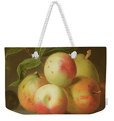 Detail Of Apples On A Shelf Weekender Tote Bag by Jakob Bogdany