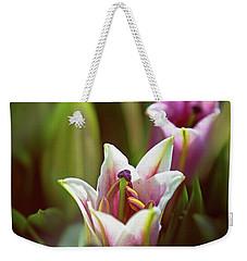 Detail Of Pink And White Oriental Lilies In Sunlight. Weekender Tote Bag