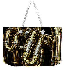 Detail Of The Brass Pipes Of A Tuba Weekender Tote Bag