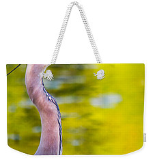 Weekender Tote Bag featuring the photograph Details Of A Great Blue Heron  by Parker Cunningham