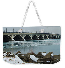 Detroit Belle Isle Bridge Weekender Tote Bag by Michael Peychich