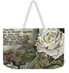 Weekender Tote Bag featuring the painting Deuteronomy 6 by Mindy Newman