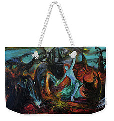 Weekender Tote Bag featuring the painting Devils Gorge by Christophe Ennis