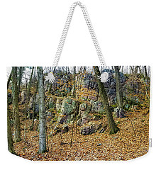 Weekender Tote Bag featuring the photograph Devils Lake Rock Formation  by Ricky L Jones
