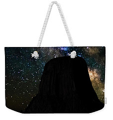 Weekender Tote Bag featuring the photograph Devils Tower And Milky Way by Scott Read