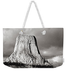 Devil's Tower Black And White Weekender Tote Bag