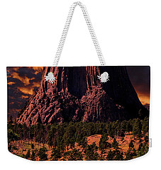 Weekender Tote Bag featuring the photograph Devils Tower Sunrise by Scott Read