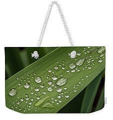 Weekender Tote Bag featuring the photograph Dew Drops On Leaf by Jean Noren